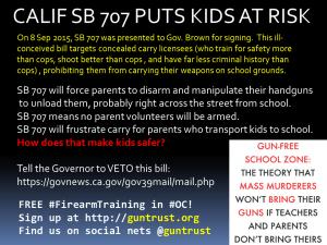 California SB 707 Gun Free School Zone will kill kids!
